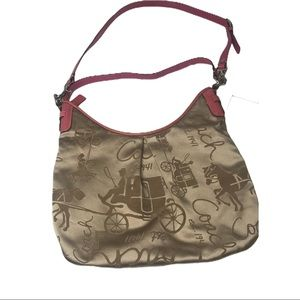 Coach Pink Horse & Carriage Signature Print Hobo
